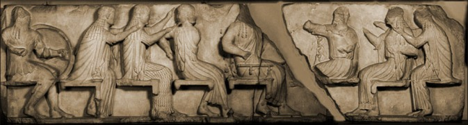 Council of the gods during the Trojan War. From left to right: Ares, Aphrodite or Eos (?), Artemis, Apollo, Zeus, Athena, Hera, Demeter or Thetis.  CLASSICAL ART RESEARCH CENTRE and THE BEAZLEY ARCHIVE
